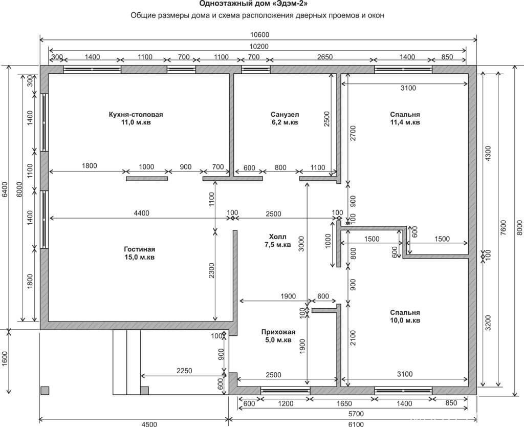 Проекты одноэтажных домов чертежи