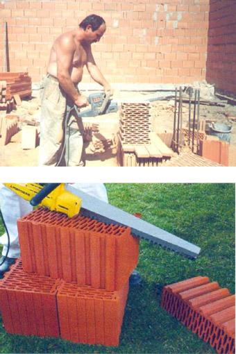 прирезка керамических блоков вручную